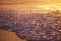 Hawaii, Sea Foam At Shoreline, Sunset