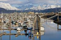 Homer boat harbor in Spring, Kenai Peninsula, Alas