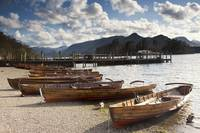 Rowboats On Shore, Lake District, Cumbria, England