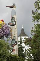 View of a totempole in downtown Ketchikan, Alaska