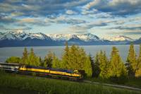 Alaska Railroad passes by Turnagain Arm near Bird