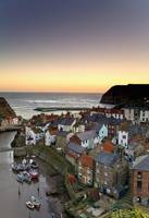 High Angle View Of Staithes Townscape, North Yorks