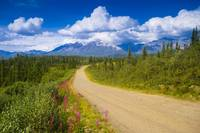 Dirt road crosses through scenic Alaska