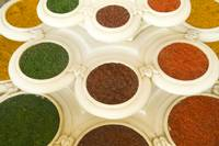 India, Agra, Abstract Colorful Bowls Of Spices In