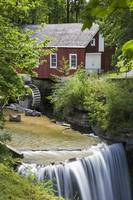 Red Barn With A Mill Wheel And Waterfall Thorold,
