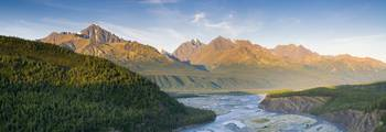 Panorama view of the Matanuska River and Chugach M