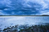 Dry Salt Lake And Clouds At Dusk Near Mortlach, Sa