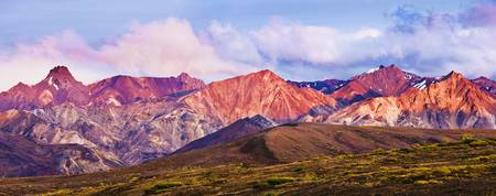 Alaska Range And Fall Colours At Sunset, Denali Na