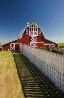 Red Barn With Fence, Near Lake Alma, Saskatchewan,