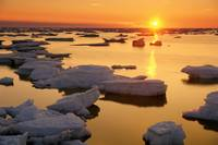Ice Floes And Sunset, Hudson Bay, Churchill, Manit