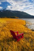 Red Adirondack chair, Southcentral Alaska