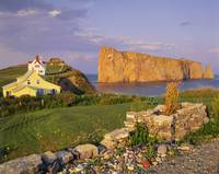 Houses And Perce Rock At Sunset, Gaspesie, Quebec,