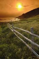 Fence And Sunset, Avalon Peninsula, Newfoundland,