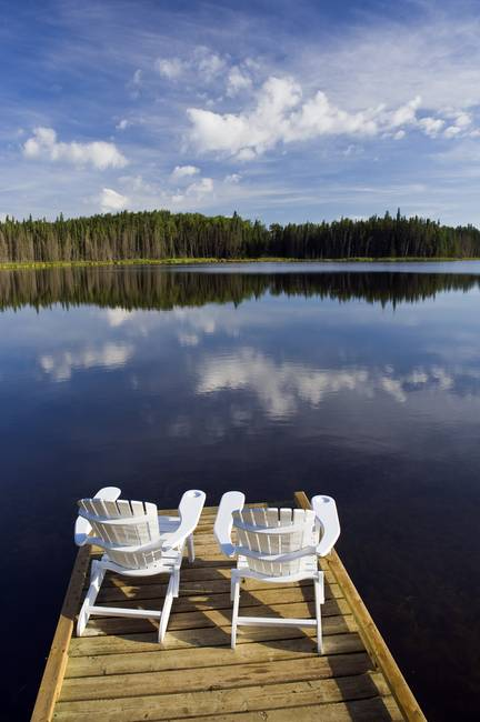 U201cAdirondack Chairs On Dock, Two Mile Lake, Manitobau201d By DesignPics