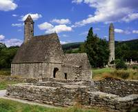 Chapel Of Saint Kevin At Glendalough And Round Tow