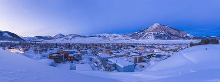 Panoramic view of Crested Butte, Colorado and Moun
