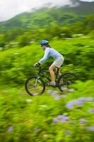 Woman Mountain Biking On Mint Glacier Trail, Talke
