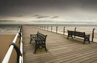 Wooden Pier With Benches Saltburn, Cleveland, Eng