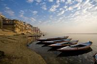 Boats Moored On River In A Row Outside Varanasi, I
