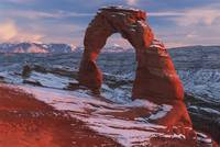 Delicate Arch At Sunset In Winter In Arches Nation