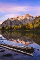 Schaffer Lake And Mount Huber At Sunset, British C