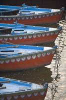 Moored Boats In A Row, Ganges River, Varanasi, Ind