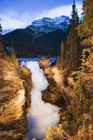 Athabasca Falls And Mount Kerkeslin At Dusk, Alber