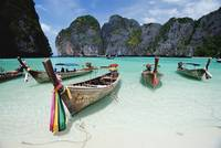Wooden Boats In Maya Bay Thailand