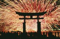 Summer Fireworks At Itsukushima Shrine