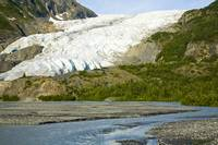 Summer scenic of Exit Glacier in Kenai Fjords Nati