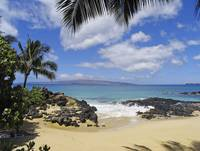Hawaii, Maui, Makena, View From Secret Beach Of Ka