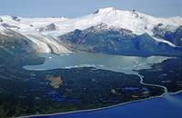 Aerial view of Fourpeaked Glacier in Katmai Nation