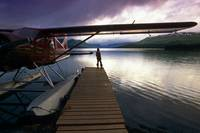 Fisherman Chelatna Lake Lodge Floatplane Docked Al