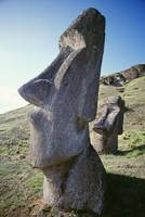 Easter Island, Close-Up Of Moai Stone Statue, Clou