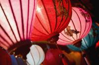 Silk Lanterns Illuminated At Night In Hoi An, Viet
