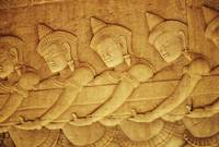 Cambodia, Angkor Wat, Close-Up Of Stone Carvings