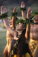 Side Angle Of Hula Dancers, All With Arms Raised,