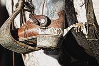 Cowboy Boot Heel And Spur In Saddle Stirrup