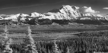 Infrared panorama of Denali and Alaska Range taken