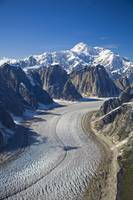 Aerial view of Great Gorge and Ruth Glacier below