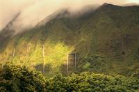 Hawaii, Oahu, Nuuanu, Many Waterfalls Along Pali,
