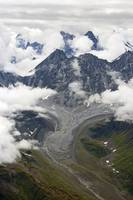 Aerial view of small glacier near Tokositna and we