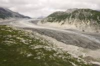Aerial view of Tanaina Glacier draining out of the
