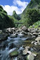 Hawaii, Maui, Iao Needle Above Stream