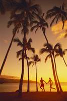 Couple Runs Together Holding Hands Under Palm Tree