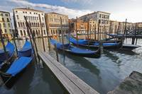 Gondolas Moored On The Grand Canal Venice, Italy