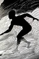Surfer, Figure Of A Man Surfing A Wave