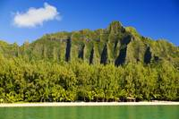 Hawaii, Oahu, Kualoa Mountainas, View From Ocean