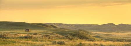 Panoramic Of Old Homestead In Grasslands National