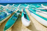 Hawaii, Oahu, Lanikai, Outrigger Canoes Stacked Al
